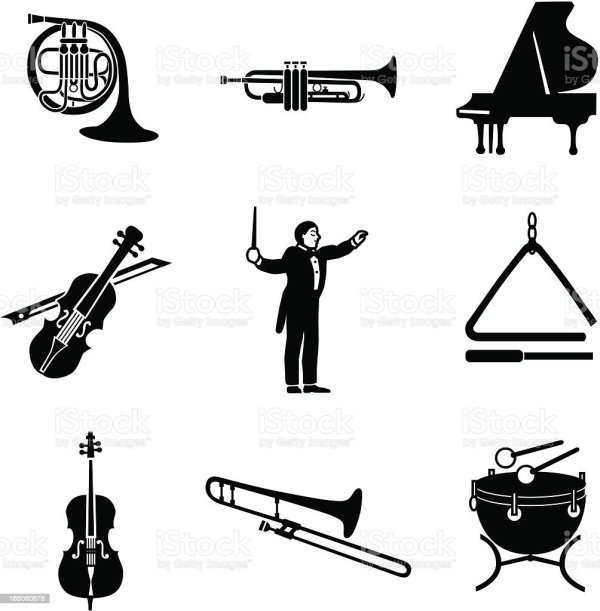 classical music icons stock vector
