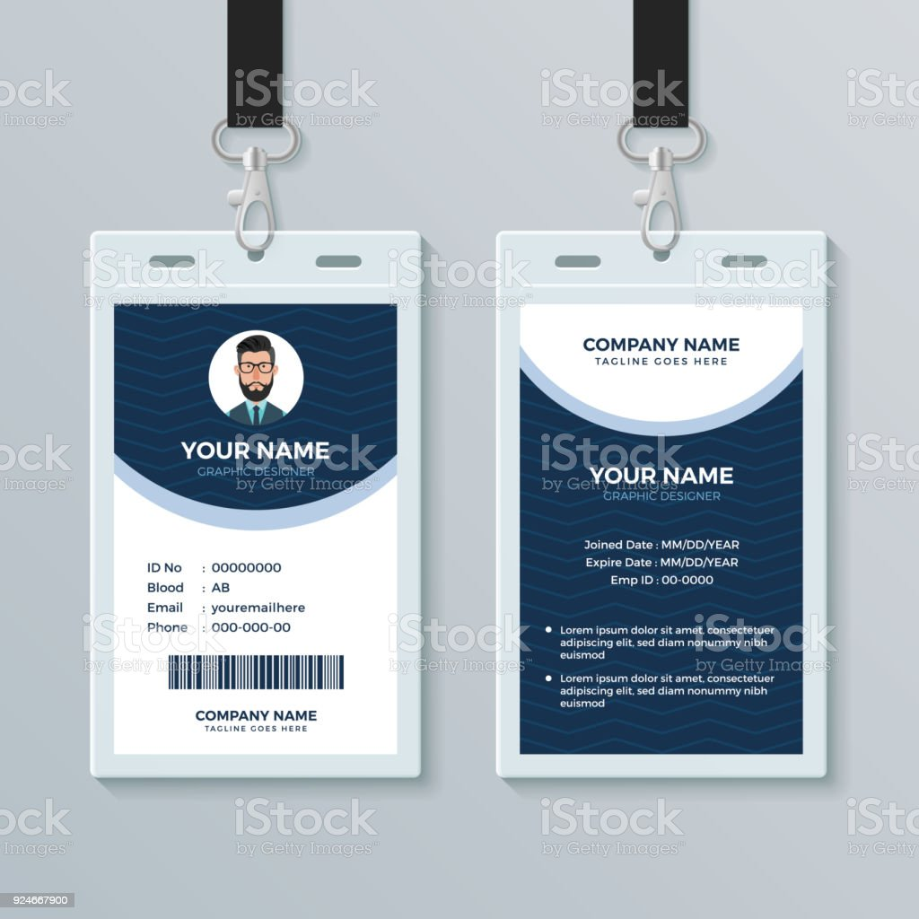 hight resolution of clean and modern employee id card design template illustration