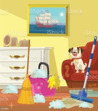 Cleaning Banner Living Room Vector Flat Cartoon ...