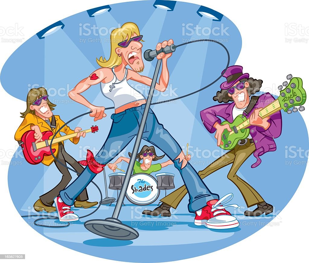 hight resolution of clipart of a rock band performing illustration