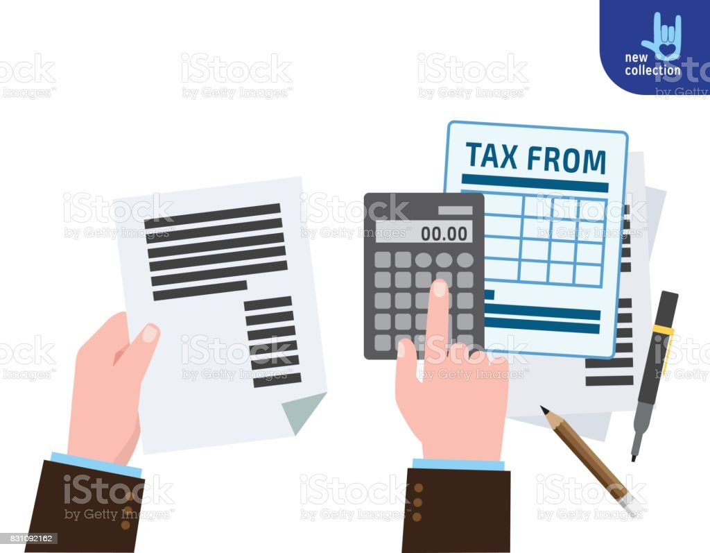 Closeup Hand Businessman Calculation Tax Symbol Of Taxation Tax Form ...