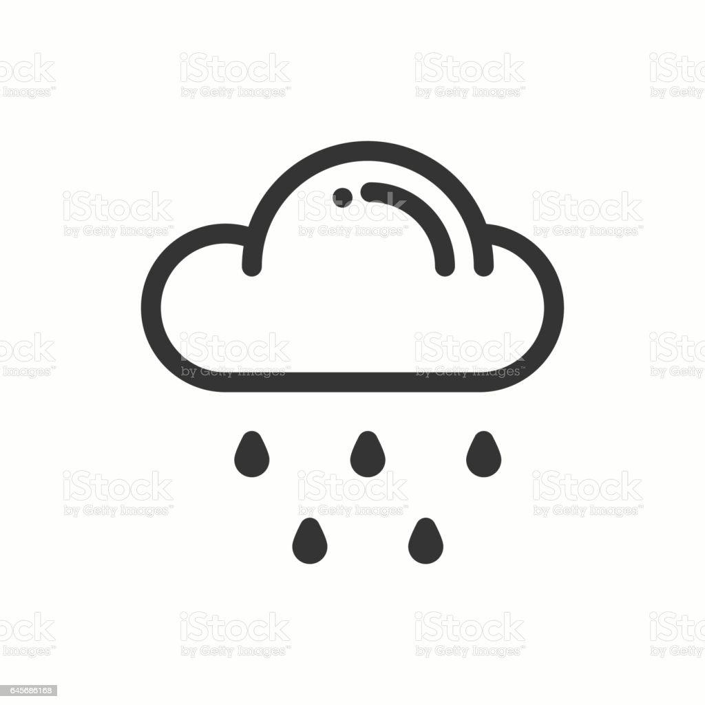 Cloud Sky Rain Line Simple Icon Weather Symbols