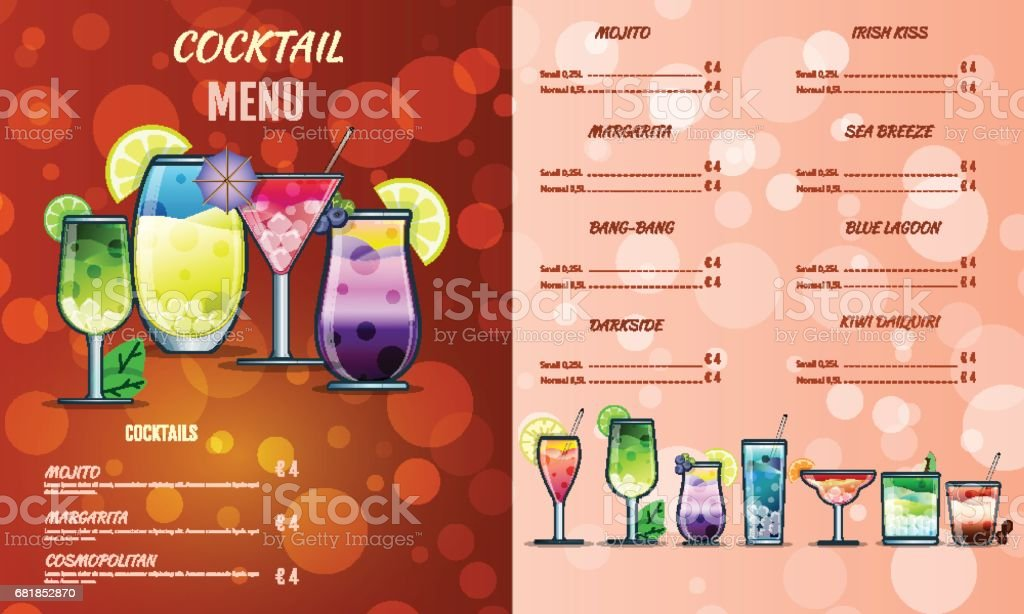 Cocktail Menu Design Templatecocktail List Cover Illustration Vector Graphic Drinks Menu Stock