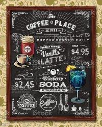Coffee Chalkboard Elements stock vector art 482744103 | iStock