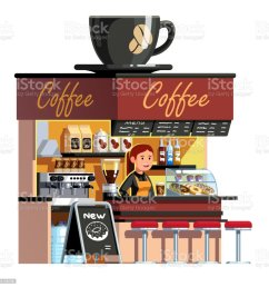 coffee shop cafe stall kiosk with coffee machine sweets showcase decorated with big espresso cup [ 1024 x 1024 Pixel ]