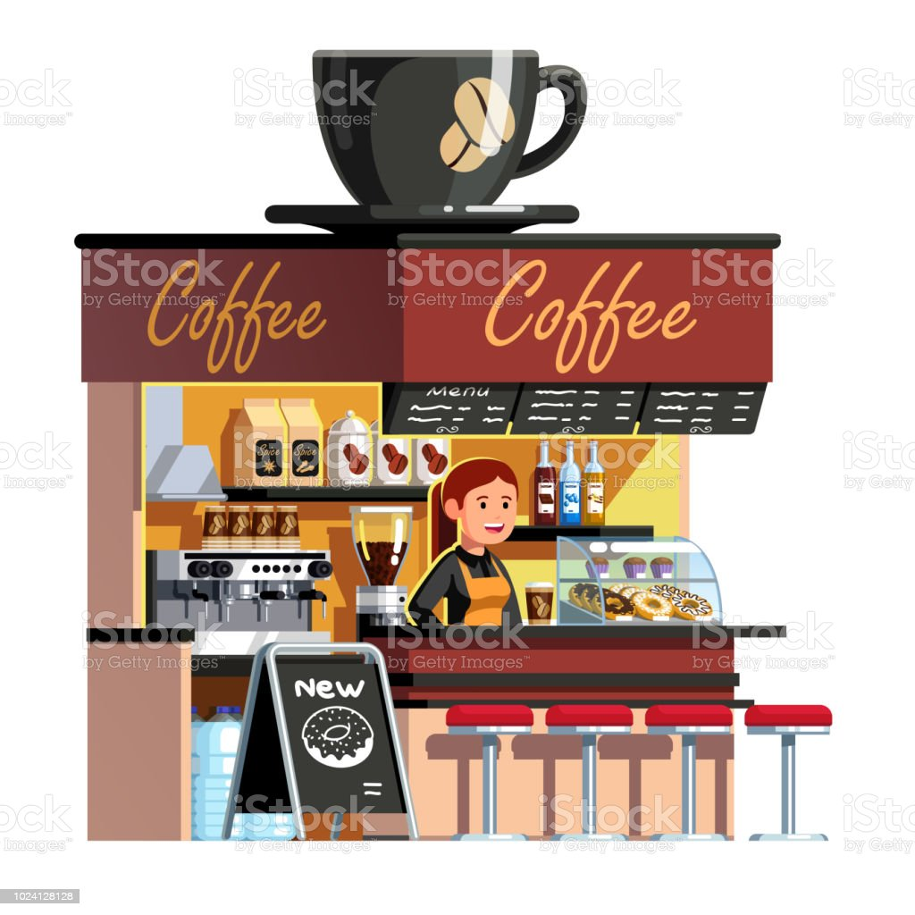 hight resolution of coffee shop cafe stall kiosk with coffee machine sweets showcase decorated with big espresso cup