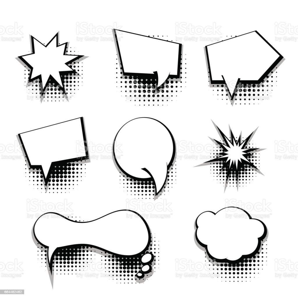 Collection Comic Text Blank Template Speech Bubble Stock