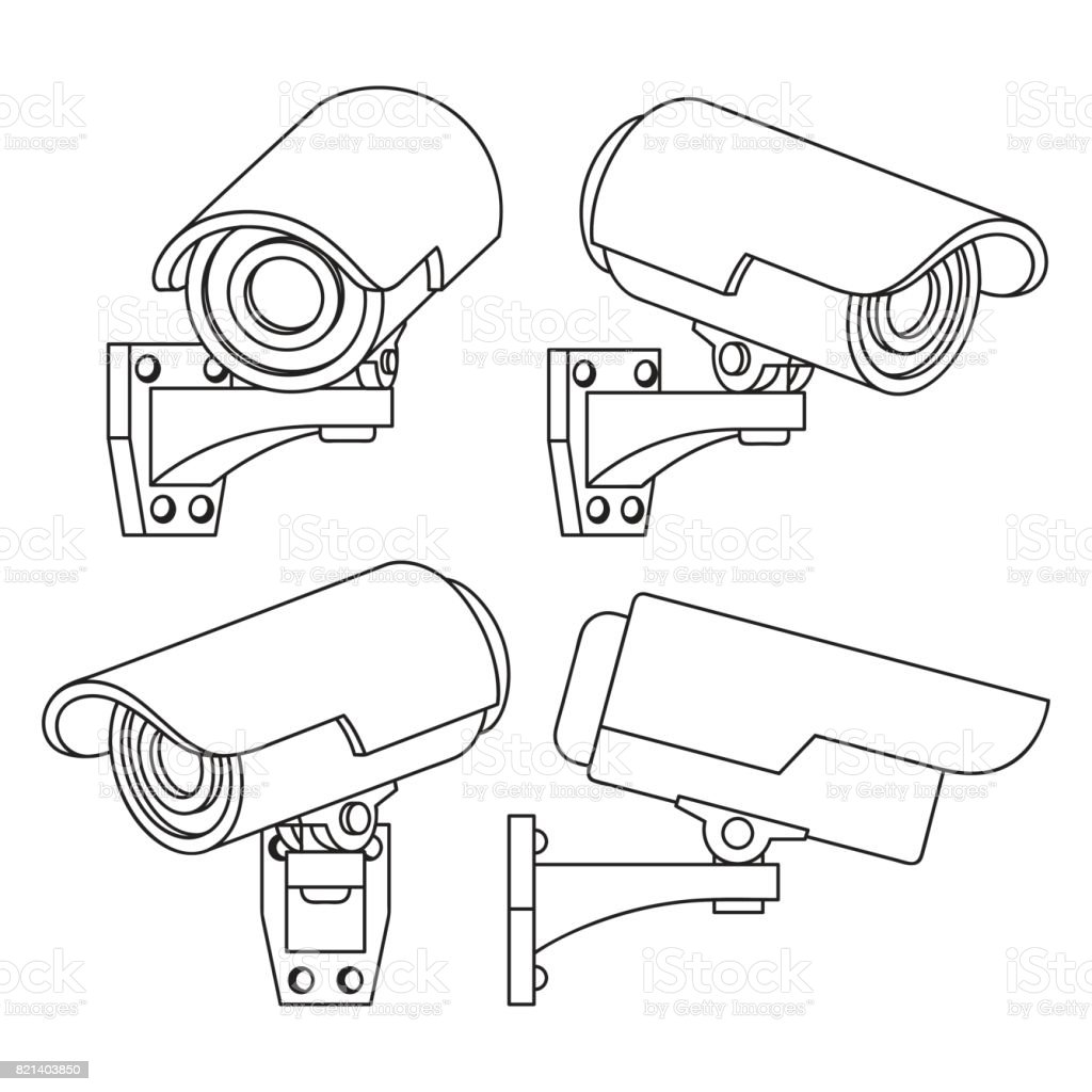 Collection Icon For Cctv Camera In Outline Design Style