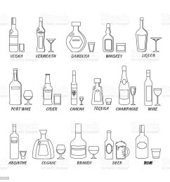collection of alcohol bottles in a line style icons vector illustration  [ 1024 x 1024 Pixel ]