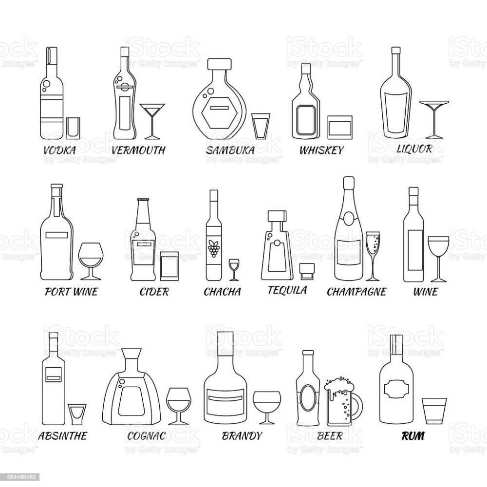 medium resolution of collection of alcohol bottles in a line style icons vector illustration