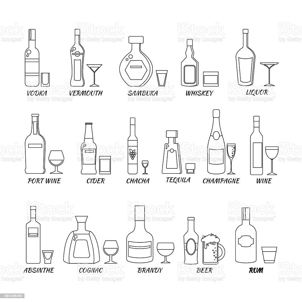 hight resolution of collection of alcohol bottles in a line style icons vector illustration
