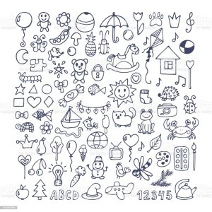 doodles doodle drawing hand drawn children vector drawings animal sketch child illustration things notes clip card elements vectors icons similar