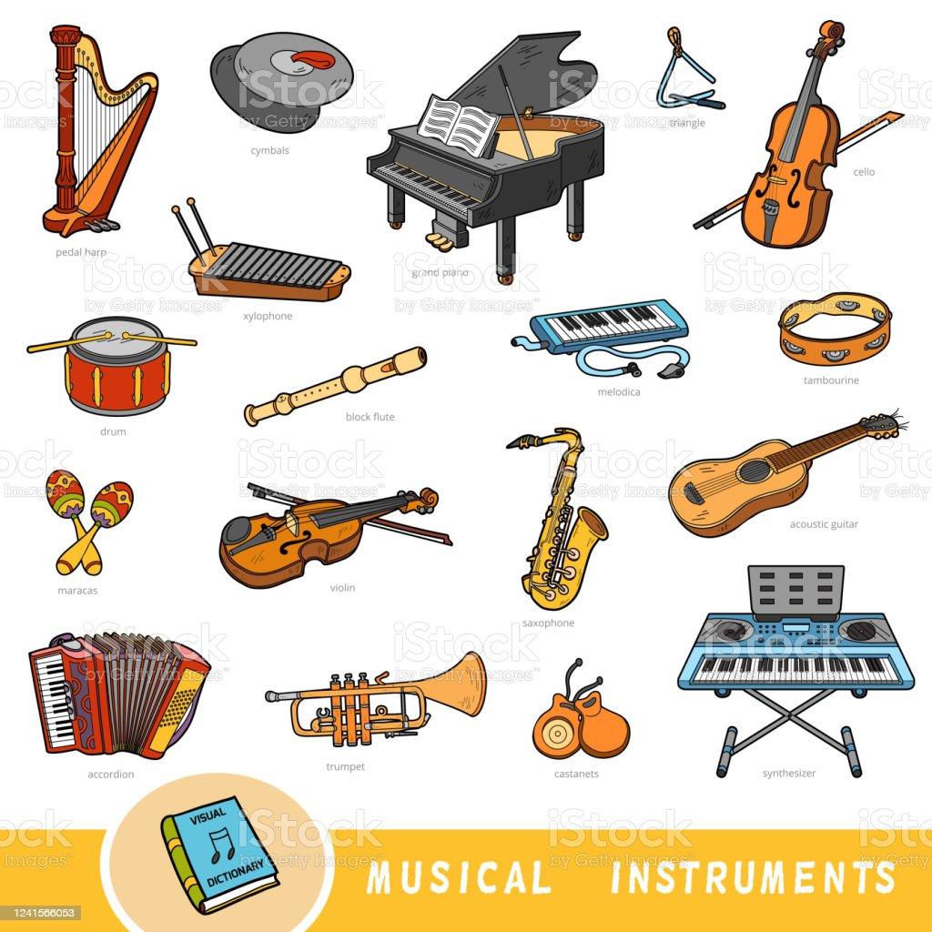 ensemble de couleurs dinstruments de musique collection dobjets vectoriels avec des noms en anglais dictionnaire visuel de dessin anime vecteurs libres de droits et plus d images vectorielles de accordeon instrument