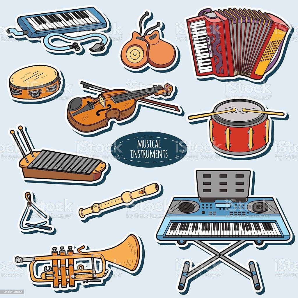 https www istockphoto com fr vectoriel couleur ensemble dinstruments de musique vecteur autocollants de dessin anim c3 a9 gm496313532 78479039
