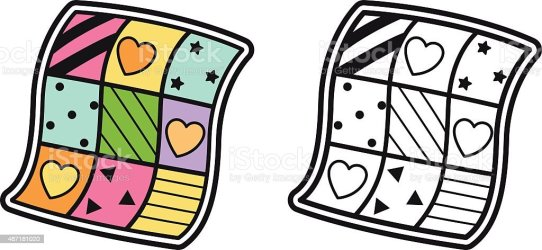 Colorful And Black And White Quilt For Coloring Book Stock Illustration Download Image Now iStock
