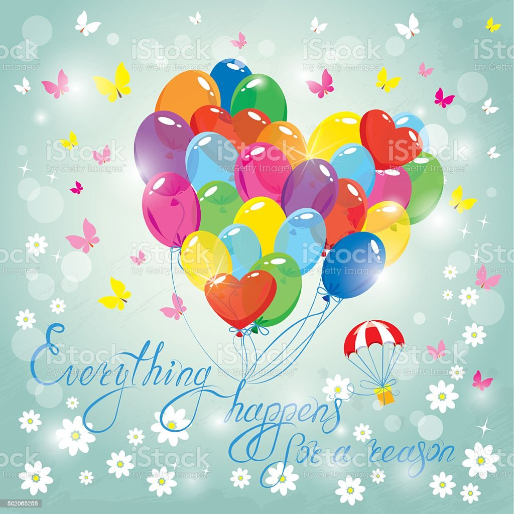 colorful balloons on sky blue background birthday invitation card stock illustration download image now istock