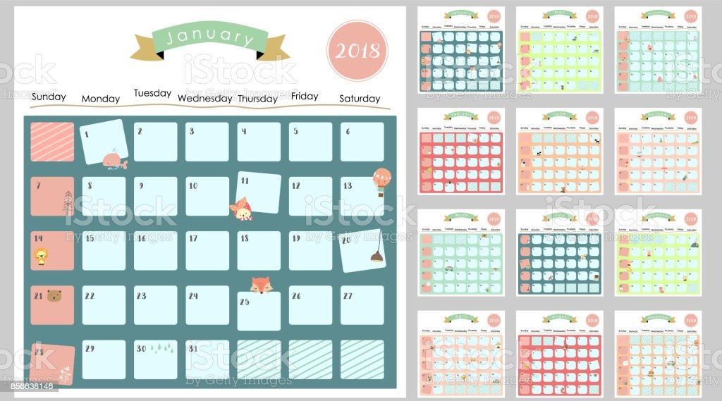 Colorful Cute Monthly Calendar 2018 With ...