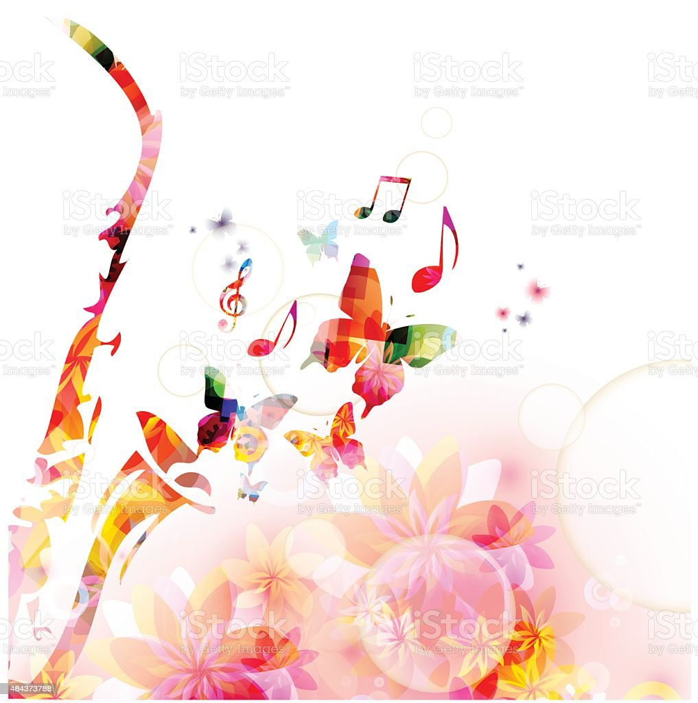 Colc 3d Wallpapers Colorful Saxophone Design With Butterflies Music