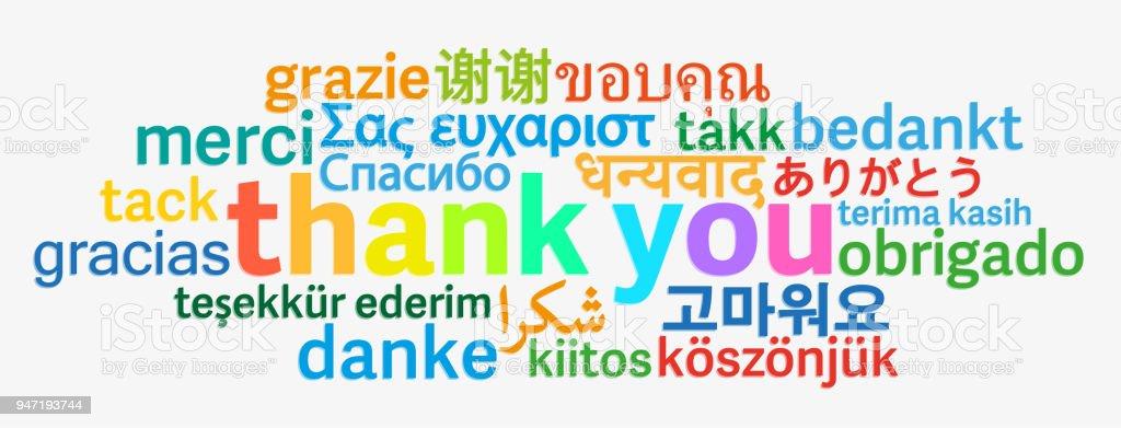 Bunte Danke Wortwolke In Verschiedenen Sprachen Stock Vektor Art und mehr Bilder von Blase - Physikalischer Zustand - iStock