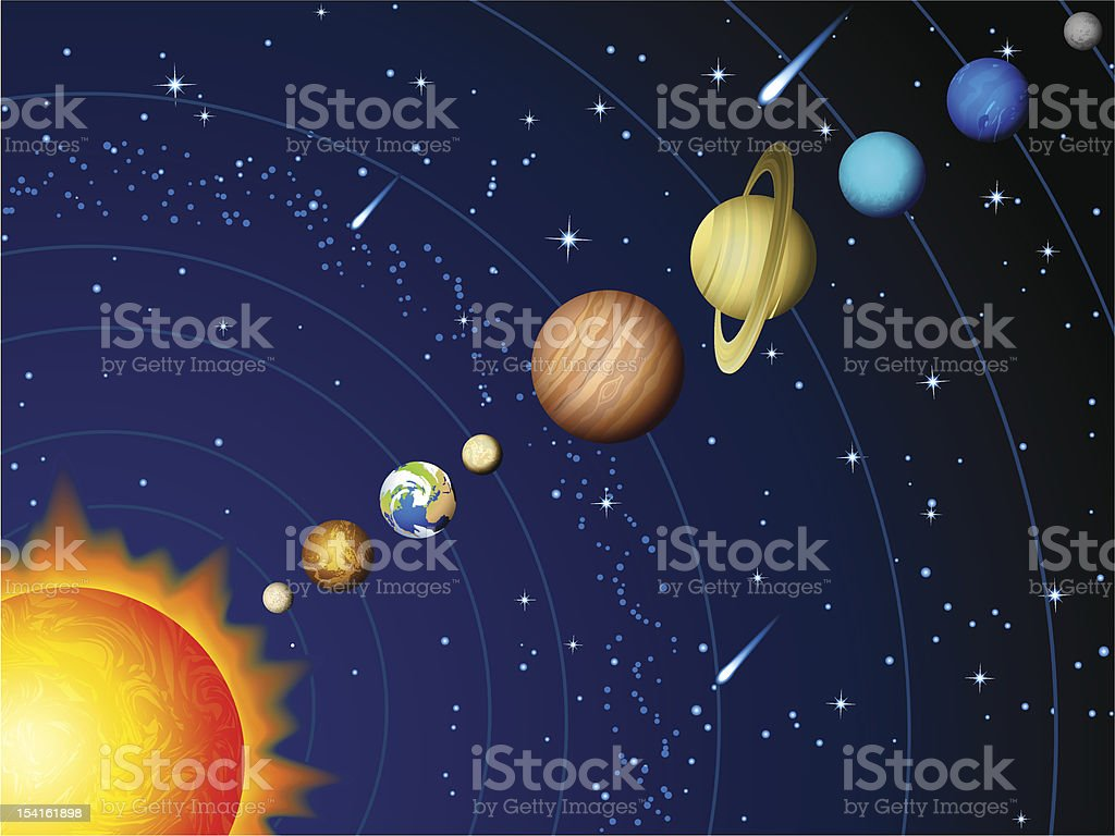 hight resolution of colorful vector diagram of the solar system illustration