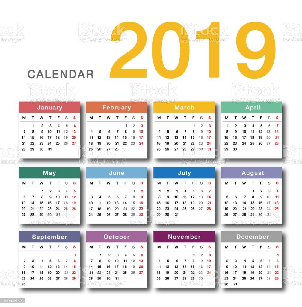 豐富多彩的年2019月曆水準向量設計範本 簡潔整潔的設計向量圖形及更多2018圖片 - iStock