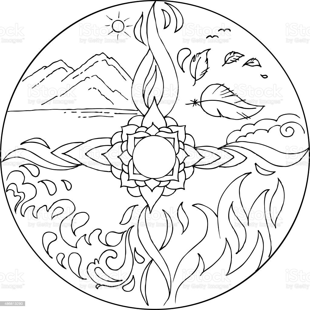 Coloring 4 Elements Mandala Diksha Vector Stock Vector Art