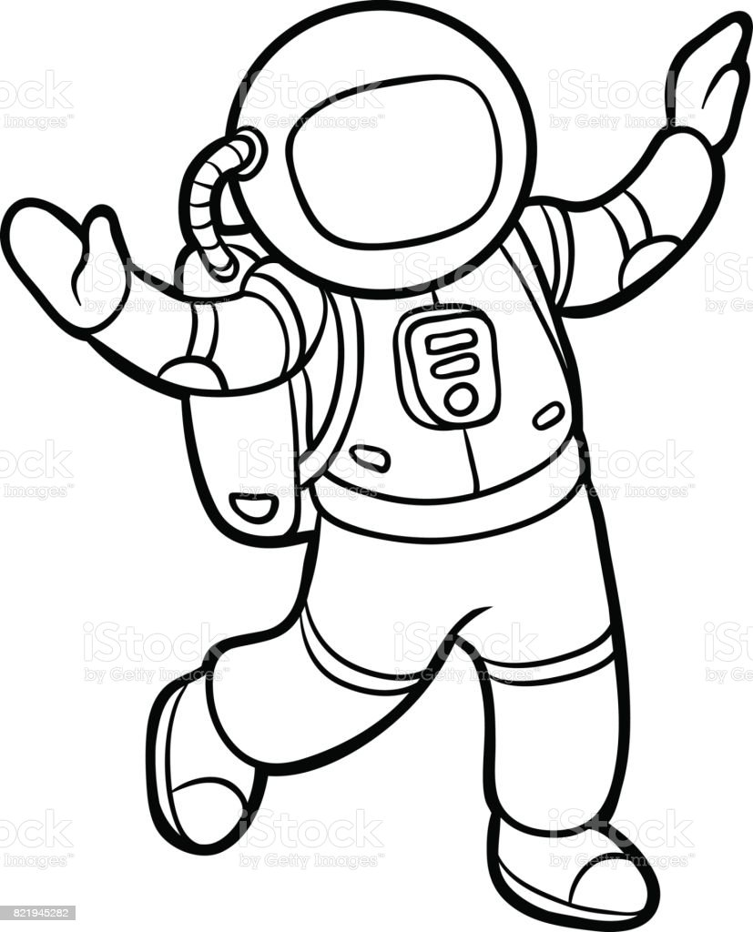 Coloring Book Astronaut Stock Illustration - Download