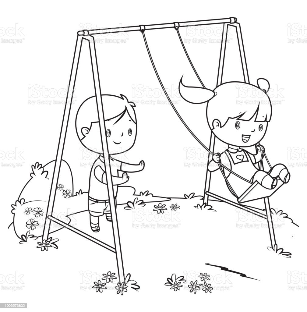 Coloring Book Children Playing On Swing Stock Vector Art