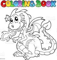Livre De Coloriage Dragon Thème Image 2 Vecteurs libres de ...
