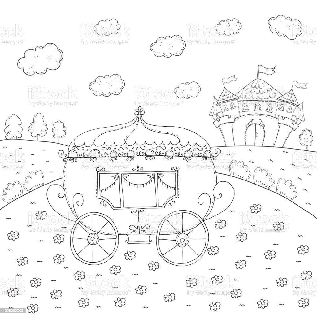 Coloring Book Fairy Tale Carriage And Magic Castle Design