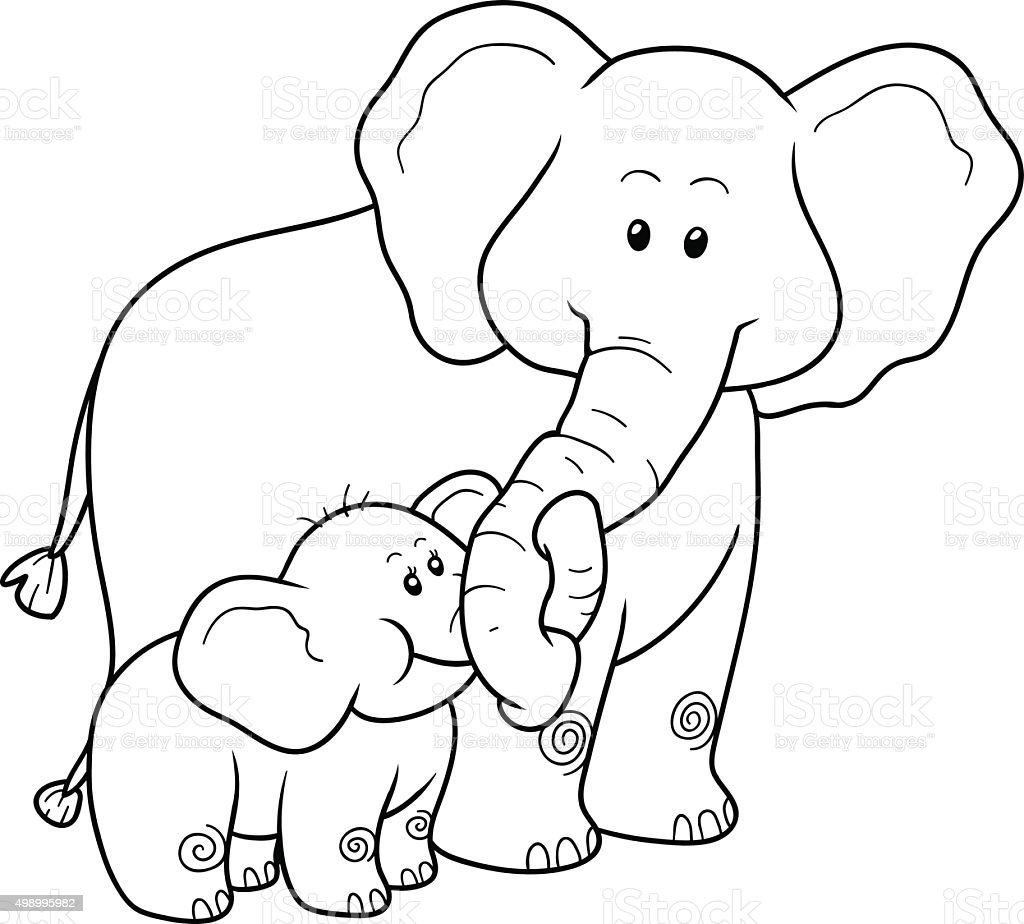 Coloring Book For Children Elephants Stock Vector Art