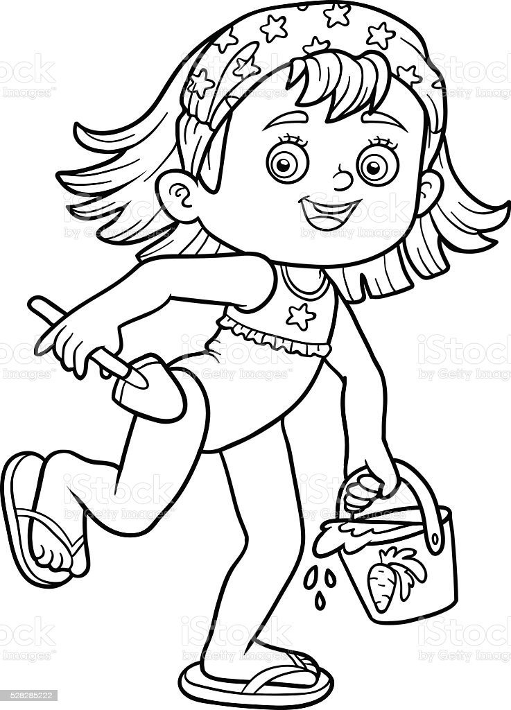 Coloring Book For Children Little Girl On The Beach Stock