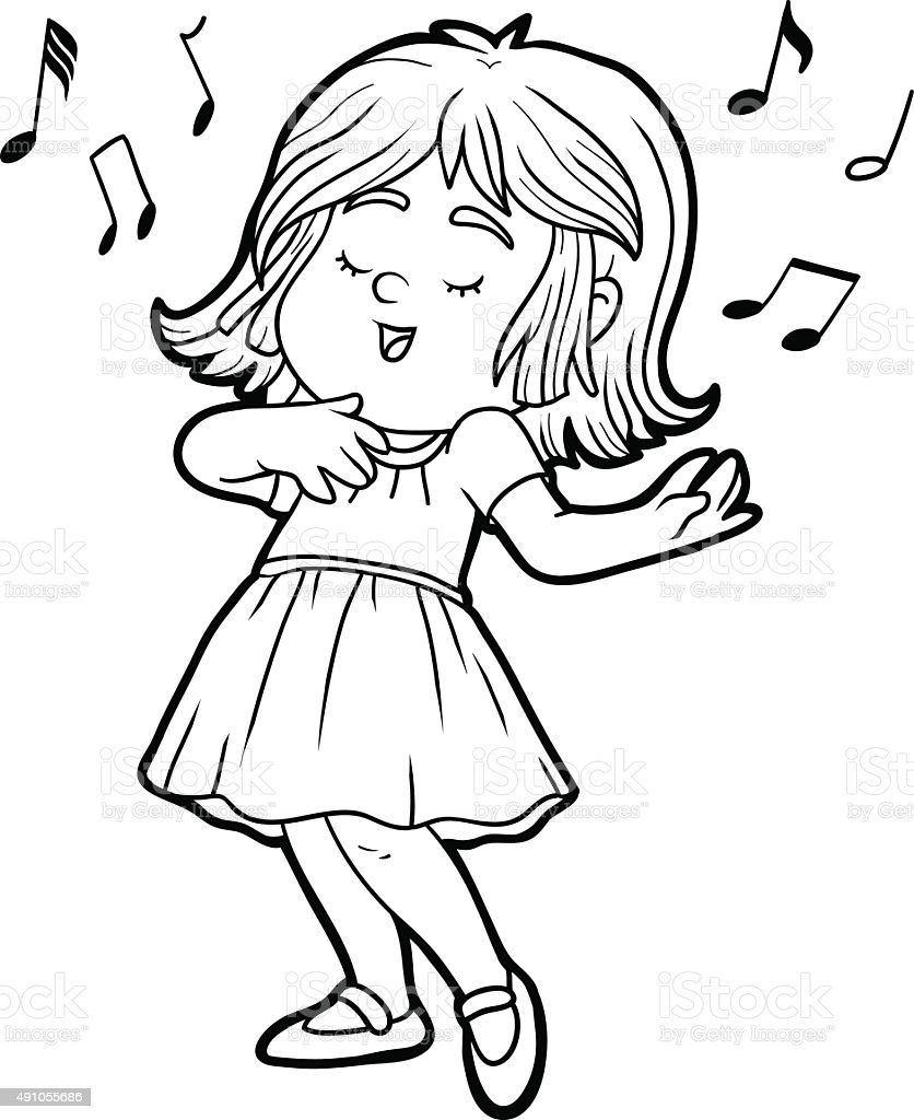 Coloring Book Little Girl Is Singing A Song Stock Vector