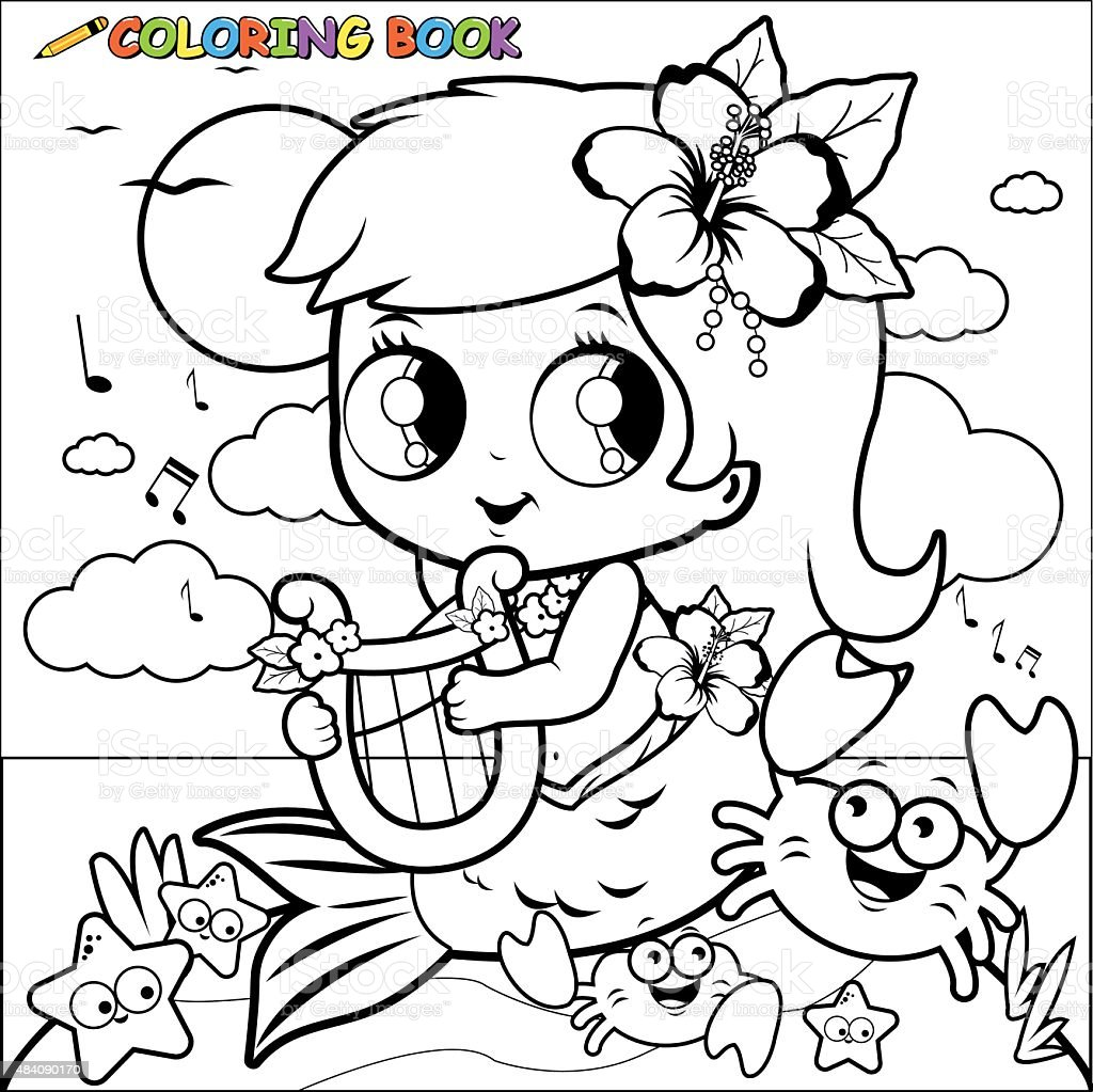 Coloring Book Mermaid Playing Music With Her Lyre Stock