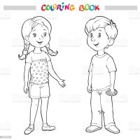Coloring Book Or Page Boy And Girl Stock Vector Art & More ...