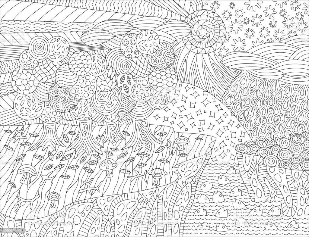 Malvorlagen Buch Mit Schönen Landschaft Stock Vektor Art
