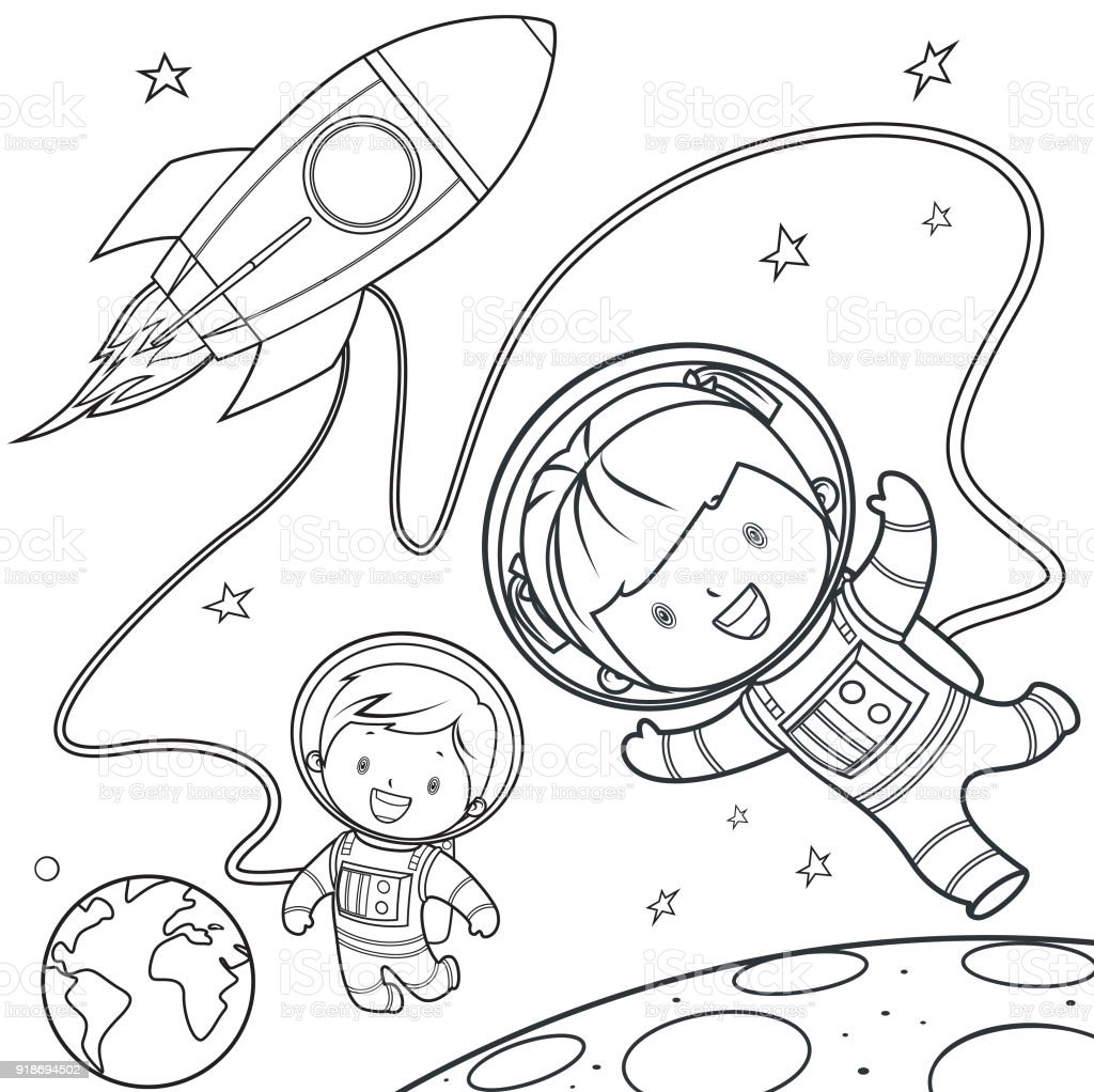 Coloring Book Rocket During A Space Travel Stock