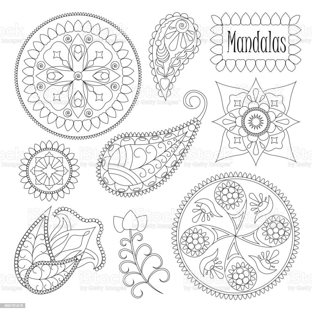 Malvorlagen Mandala Elemente Für Grafikdesign Satz Von