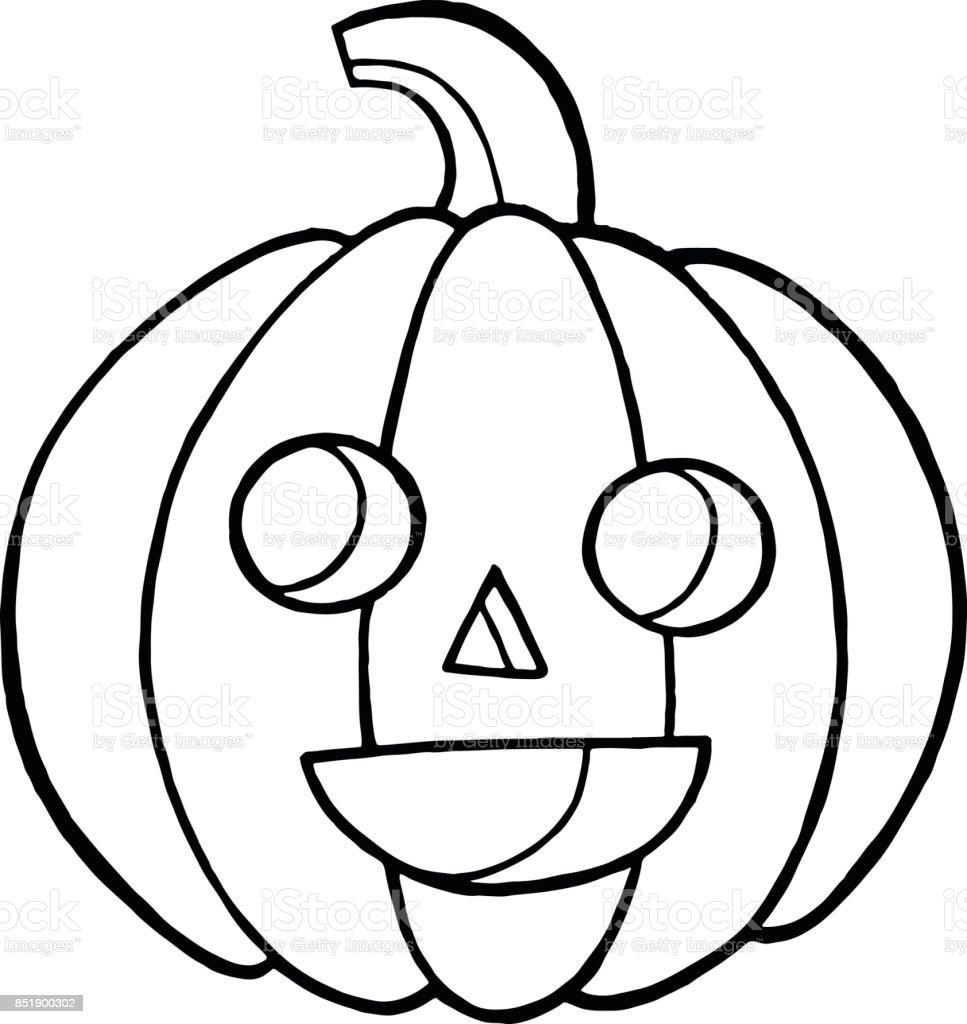 Malvorlagen Und Doodle Skizzieren Mit Kürbis Für Halloween