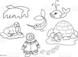 Malvorlagen Eskimos Vor Einem Iglu   Coloring and Malvorlagan