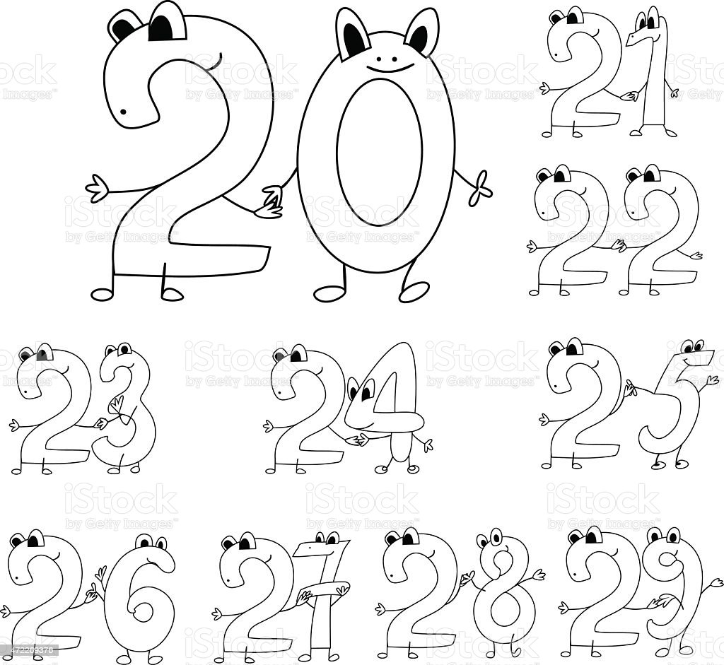 Coloring Page Funny Numbers Stock Vector Art & More Images