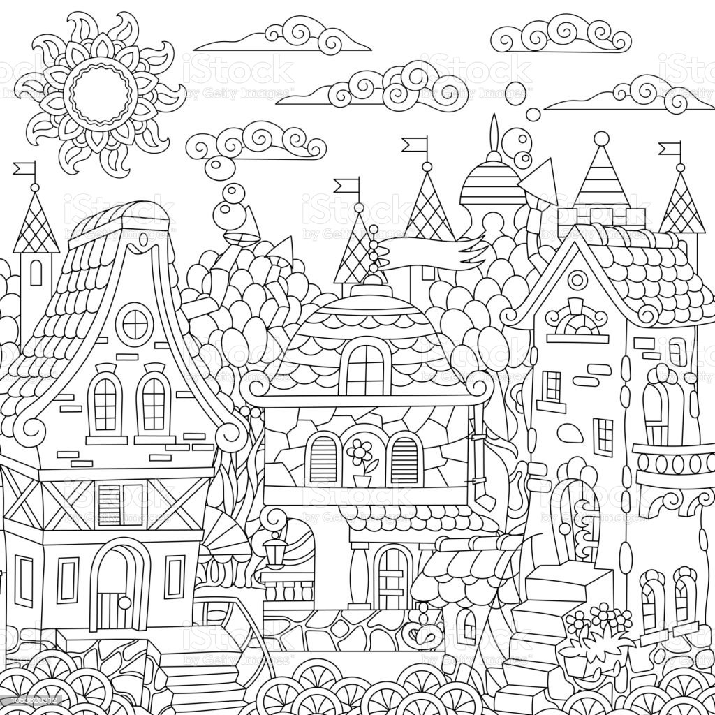 Coloring Page Of Fairy Tale Town Stock Vector Art & More