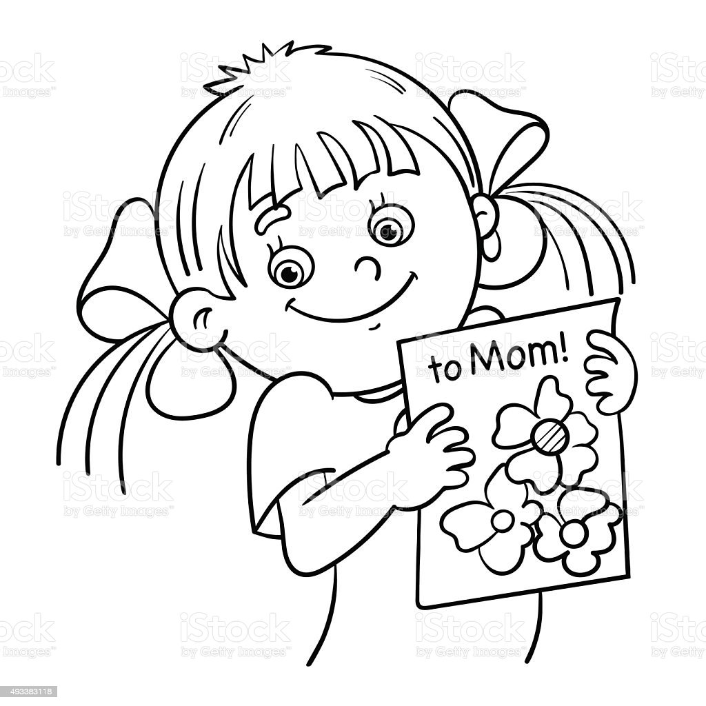 Coloring Page Outline Of A Girl With A Picture Stock