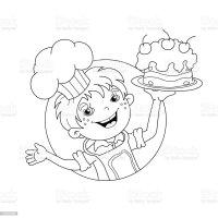 Pagina Da Colorare Sagoma Di Fumetto Di Ragazzo Chef Con ...