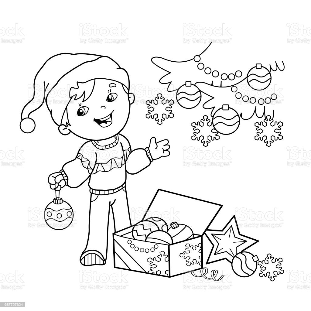 Coloring Page Outline Of Cartoon Boy Decorating The