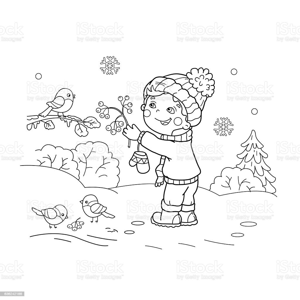 Coloring Page Outline Of Cartoon Boy Feeding Birds Stock