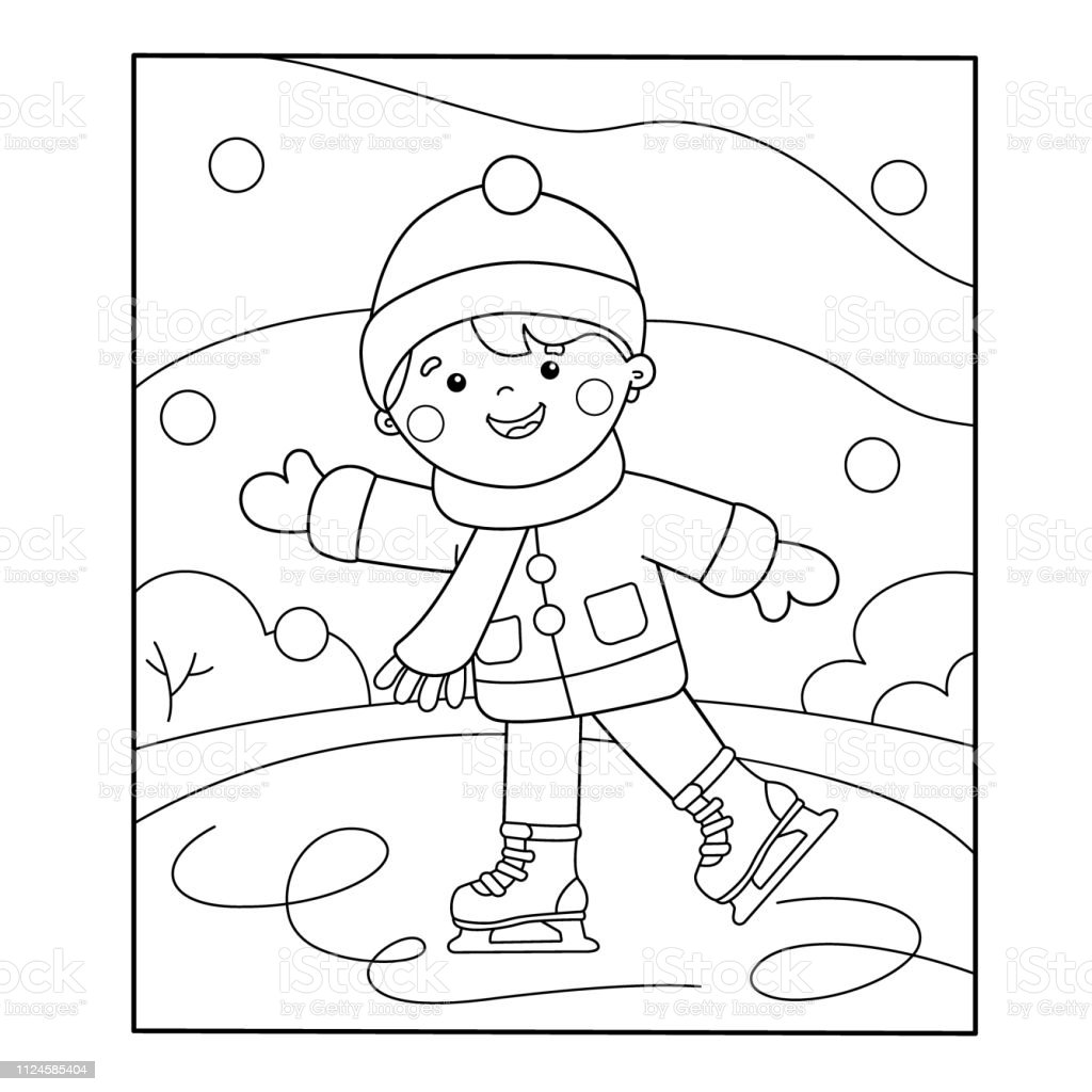 Coloring Page Outline Of Cartoon Boy Skating Winter Sports