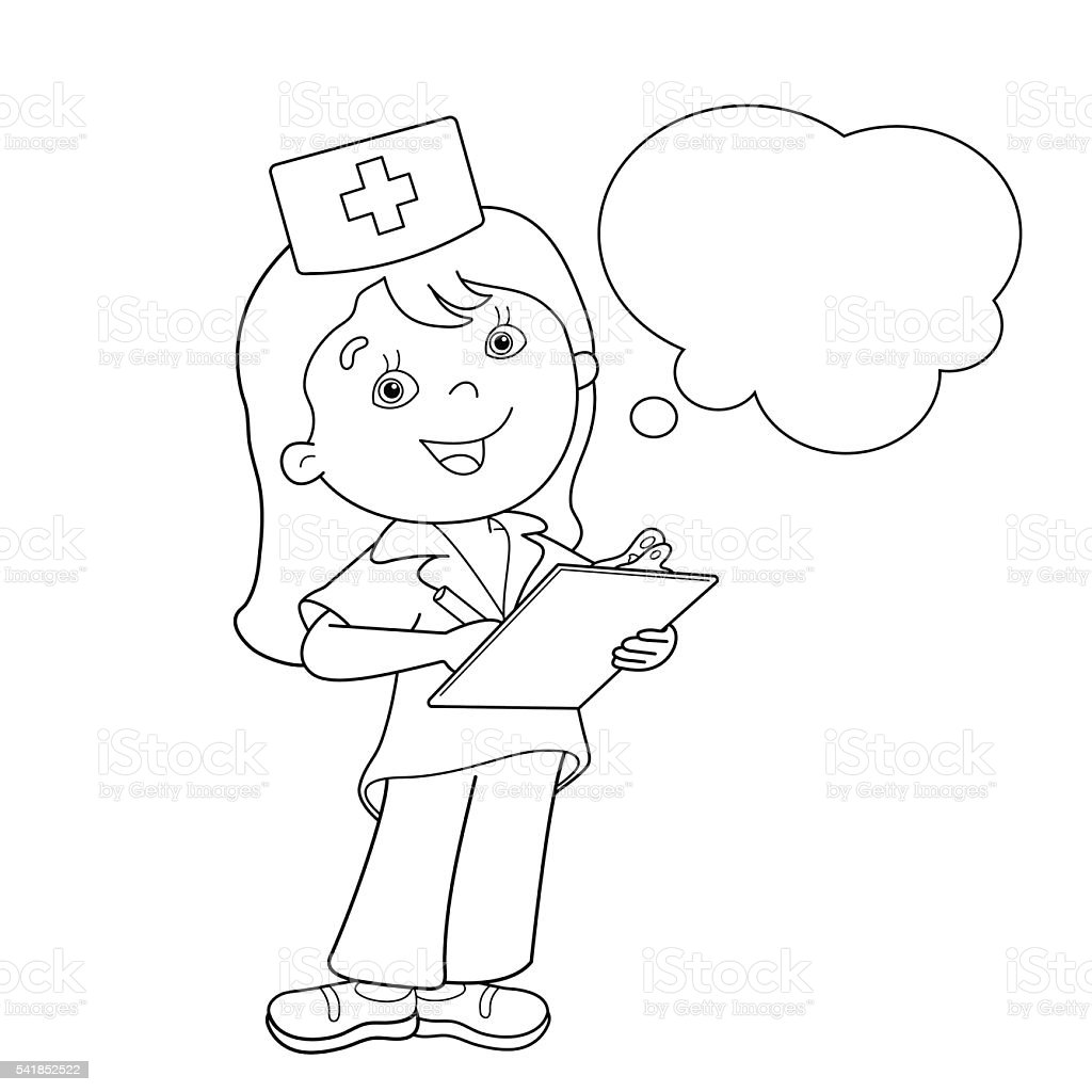 Coloring Page Outline Of Cartoon Doctor Stock Vector Art