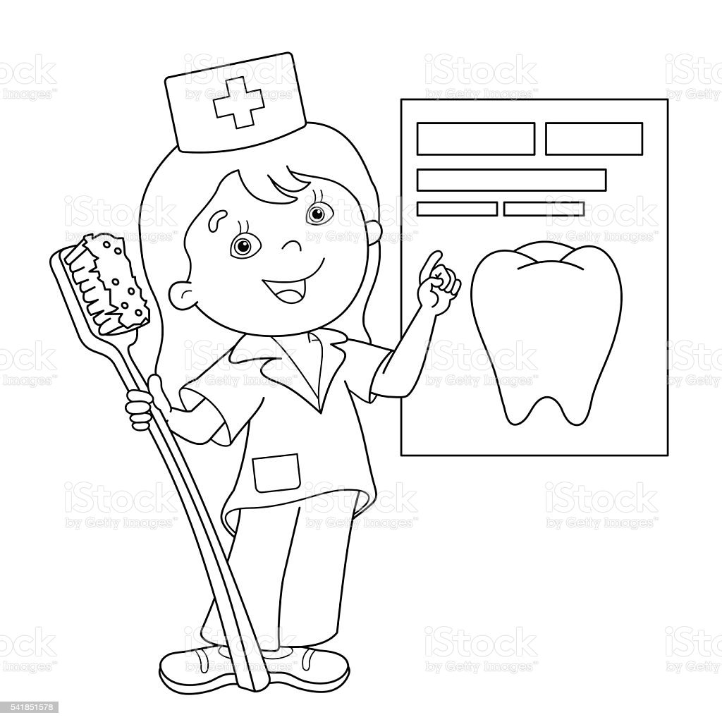 Coloring Page Outline Of Cartoon Doctor With A Toothbrush