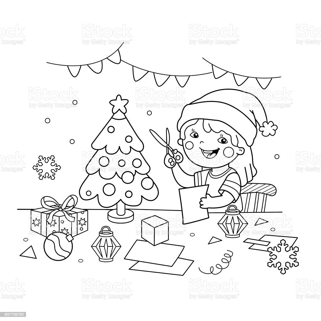 Coloring Page Outline Of Cartoon Girl Making Christmas